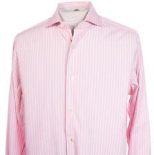 Truzzi Milano Italy Mens sz 16 x 34.5 Pink Stripe Long Sleeve Dress Casual Shirt