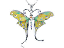 Nuevo Amarillo Esmalte Plata Cristal Strass Mariposa Libélula Colgante Collar
