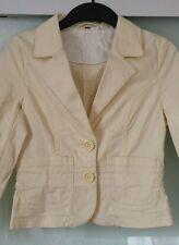 H&M Damen Baumwolle Sommer kurz Blazer Jacke zart gelb 3/4 Arm Gr. 34 36 XS S