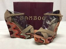 Bamboo ELIZA Women's Wedge Sandals, Tauiks, Size 10 M Eur 40