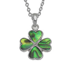 Lucky Paua Shell Four Leaf Clover Pendant Necklace Genuine Paua Shell Jewellery