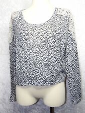 Abercrombie & Fitch Large Womens or Jrs Crop Top Sweater Floral Print Black Whit