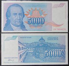 YUGOSLAVIA Paper Money 5000 Dinara 1994 UNC