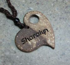PERSONALIZED Coconut Shell Heart Pendant Necklace 18in
