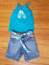 EUC Girls Size 3 4 Gymboree Aqua Summer Shorts Tank Lot Blue Jean