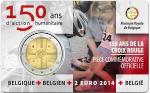 1x 2 euro commémorative Belgique 2014 - Croix-Rouge Type I FR (neuve) coincard