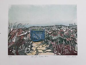 Original limited edition 15/50 etching by Valerie E.Daniel (b .1926) 'Blue gate'
