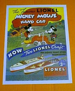 LIONEL  MICKEY  MOUSE HANDCAR  LIONELCRAFT BOAT AD