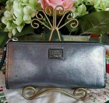 Coach Poppy Gunmetal Shimmer Metallic Leather Large Zip Wallet MINT