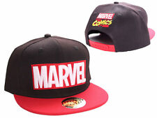 OFFICIAL MARVEL COMICS LOGO BLACK AND RED SNAPBACK CAP HAT (BRAND NEW)