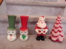 "Lot of 4 Large Gurley Mid Century Christmas Candles Santa Tree Snowmen 9.5"""
