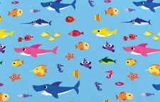 BABY SHARK DooDooDoo polyester blue fabric 1 yard material fish seahorse NEW!