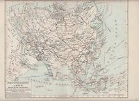 c.1890 ASIA MIDDLE AGES HISTORY ANTIQUE MAP