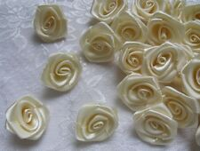"1"" Wedding Lt. Ivory (Antique White) Satin Ribbon Roses Flower-Lots 50Pcs-R0016I"