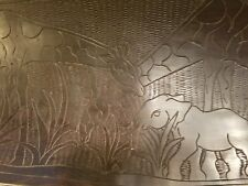 "GREAT LARGE HAND CARVED VINTAGE 23"" AFRICAN TRAY GIRAFFES AND ELEPHANTS"