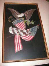 Vintage USA Patriotic Eagle & Flag Framed Feather Art