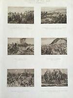 Old Antique Print 1900, Incidents in the Transvaal War, Spion Kop, Johannesburg