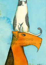 ACEO PRINT - On the Head - art, dogs, cats, pets, painting, Airedale, drawing