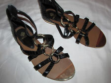 ISOLA CARL cage gladiator python embossed back zip metal rings sandals shoes 7.5