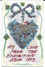 Rare Glitter Post Card, Edinburgh Exhibition, 1908