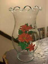 "Clear Glass Poinsettia Design Hurricane Lamp Chimney Shade Ruffled Top 6"" Tall"