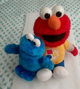 "Sesame Street Elmo 14"" Plush Doll Talking Tested WORKS Cookie Monster 10"" plush"