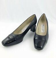 Etienne Aigner Sz 6 1/2 M Strada Pumps Shoes Black Leather Patent Toe Block Heel