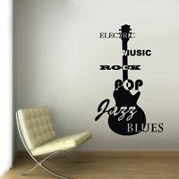 Wall Decal Vinyl Sticker Guitar Musican Rock Music Notes Jazz Blues Sign Z3022