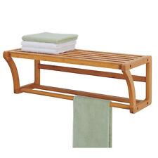 Bath Towel Rack Bar Wall Mounted Bathroom Bamboo Hook Storage Shelf Rail Holder