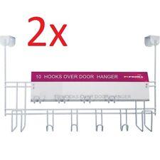 2  X OVER THE DOOR 10 HOOKS WHITE WASH ROOM COAT HANGER CLOTHES TOWEL STORAGE