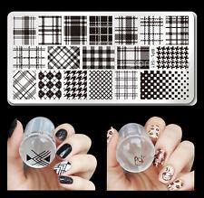 3pcs/set Checked Design Nail Art Stamping Plate Stamper Scraper Kit Born Pretty