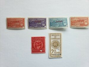 Columbia SPECIMEN fiscal/revenue stamp (lot of 6) - w/cigar - punched - MNH