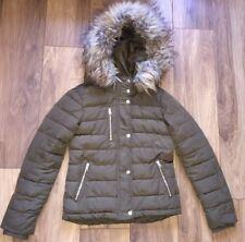 girls/ladies size 10 topshop khaki green quilted jacket coat parka puffa puffer