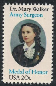 Scott 2013- Dr. Mary Walker, Army Surgeon MOH- MNH 20c 1982- unused mint stamp