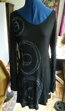 DESIGUAL black and  gray graphic mini shift tunic dress M
