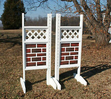 Horse Jumps Lattice Top Brick Bottom Wing Standards 6ft/Pair - Horse Tack #210
