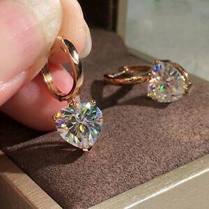 Women Cubic Zircon Earrings Crystal Heart Ear Hoop Drop Dangle Jewelry Gifts