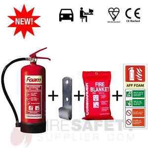NEW 6 LTR AFFF FOAM (OFFICE) FIRE EXTINGUISHER + BRACKET + BLANKET + SIGN