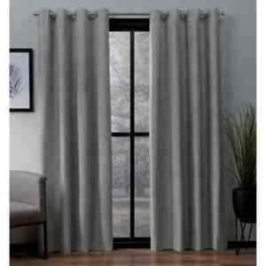 Dove Grey Woven Thermal Blackout Curtain -  52 in. W x 63  (Set Of 2)