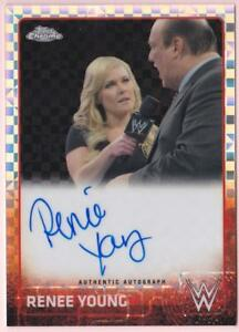 RENEE YOUNG 2015 TOPPS CHROME WWE DIVA RED PULSAR REFRACTOR AUTO #1/5 AUTOGRAPH