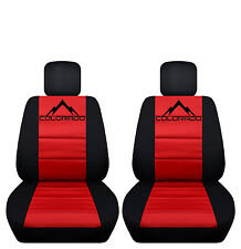 Black and Red Colorado Seat Covers 60-40 Seat Console Opens