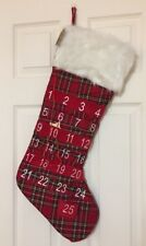 "Large Tartan Plaid 27.5"" Stocking Advent Calendar Count Down to Christmas NEW"