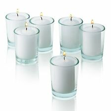 36 Clear Glass Round Votive Holders & White Unscented votive candles Burn 15 Hrs