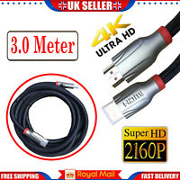 3M Long HDMI Cable High Speed v2.0 HD 4K 3D ARC For PS3 PS4 XBOX ONE SKY TV