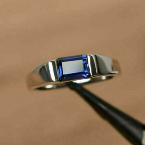 Men's Engagement & Wedding Solitaire Ring 2.6 Ct Sparkle Sapphire 14K White Gold