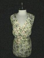 LANE BRYANT Plus Size 2X 18 20 Shirt Top Beige Brown Floral Bubble Lace Stretch