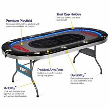 Poker Table Portable Foldable Casino Arcade Game In-Laid Led Lights 10 Players