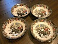 NEW! Royal Stafford Christmas Santa Sleigh Reindeer Salad  Soup Bowls 4 pc SET