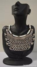 STATEMENT CHUNKY PUNK STUDDED SPIKE CHAIN BIB NECKLACE EARRING SET SILVER WHITE