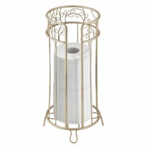 mDesign Metal Toilet Paper Storage Holder Stand, 3 Rolls - Pearl Champagne